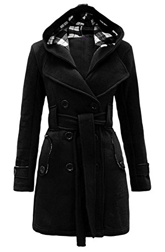 Womens Woolen Double Breasted Pea Coat Hoodie Winter Jacket