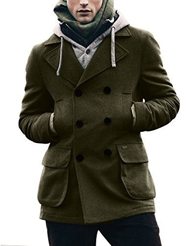 Coofandy Men's Winter Classic Wool Double Breasted Pea Coat