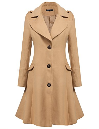 Zeagoo Women Lapel Single Breasted Wool Overcoat Long Swing Coat Jacket