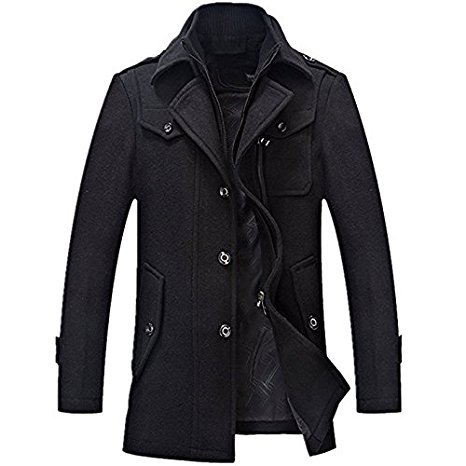 Yougao Men's Winter Thicken Warm Stand Collar Wool Coat