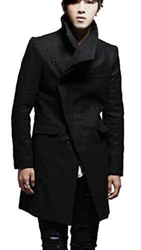 OULIU Mens Vintage Casual Lapel Mid Long Trench Pea Coat