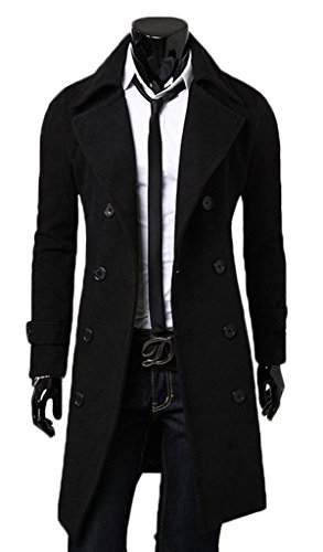 YITANG Mens Stylish Fashion Classic Wool Double Breasted Pea Coat