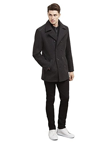 Kenneth Cole Reaction Men's Leather Wool Pea Coat With Shoulder Details