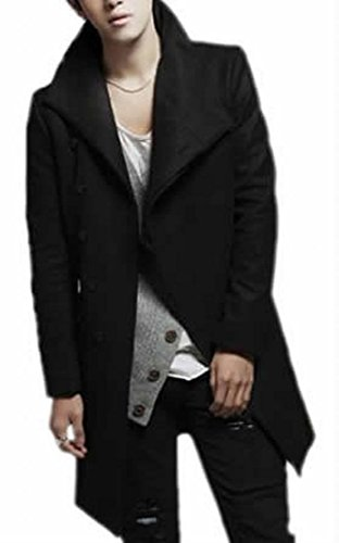 Fulok Mens Fashion Peacoat Solid Stand Collar Trench Coats