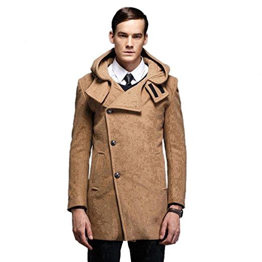 Liveinu Men's Classic Wool Blend Single Breasted Pea Coat with Hood