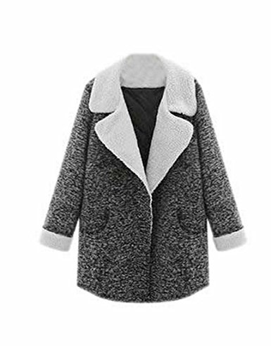 Ebind Womens Casual Winter Lapel Wool Blend Peacoat