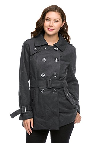 2LUV Women's Double Breasted Peacoat W/ Sash Belt