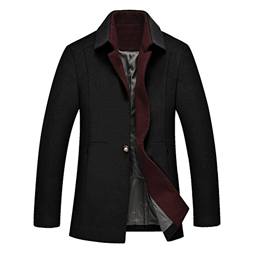 DAVID.ANN Men's One Button Classic Coat Wool Overcoat