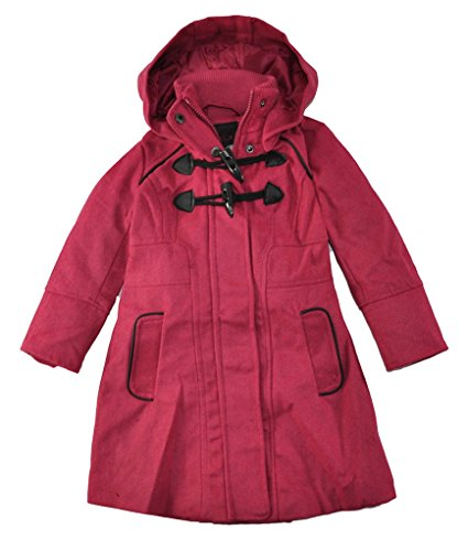 Yoki Girls Single Breasted Hooded Faux Wool Long Pea Coat