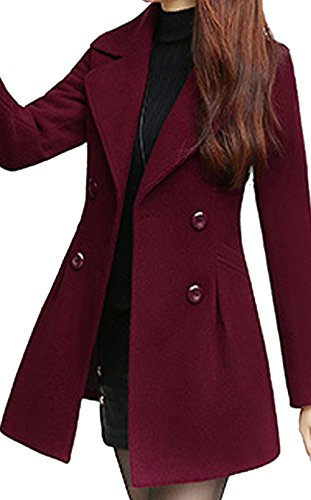 S&S Women's Sweet Heart Solid Splicing Lapel Double Breasted Side Pocket Wool Pea Coat