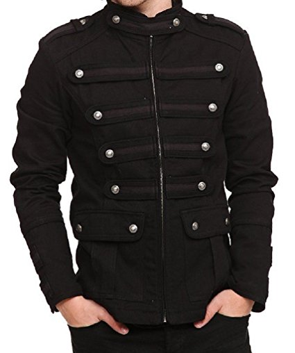 Black Gothic Steampunk Army Military Uniform Style Pea Coat Jacket