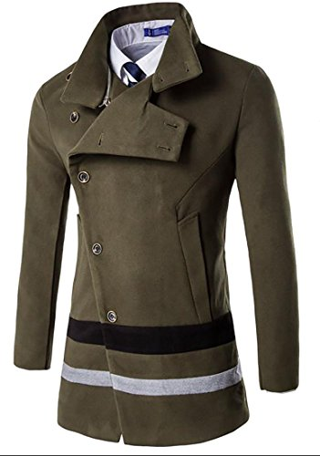 Papijam Men's Contrast Color Button Down Stand Collar Wool Blend Peacoat