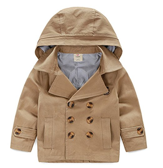 LJYH Toddler Boys' Classic Peacoat Hooded Toggle Coat