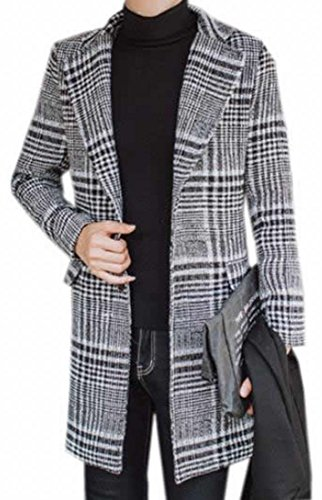 KXP Mens Fashion Houndstooth Classic Lapel Peacoats