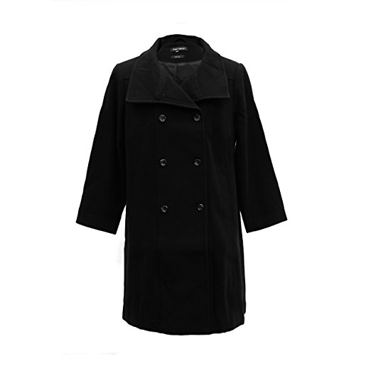 Ferrecci Womens Plus Size Black Double Breasted Peacoat Jacket