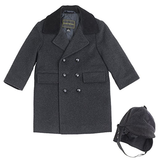 Infant Boys Wool Blend Long Peacoat With Hat Quality Rothschild Brand Perfect Gift or Birthday Present For Your Little Man