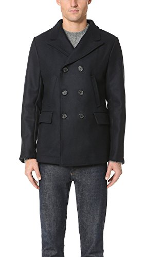 Billy Reid Men's Wool Double Breasted Bond Peacoat with Leather Details