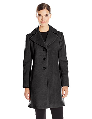 Larry Levine Women's Single-Breasted Notch Collar Wool Coat