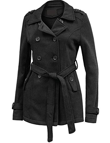 BEKTOME Womens Double Breasted Button Closure Trench Pea Coat Jacket