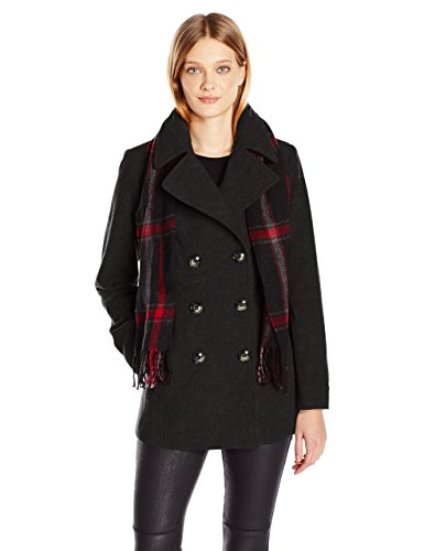 London Fog Women's Plus Size Double Breasted Peacoat with Scarf