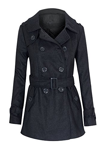 Women's Double Breasted Long Sleeve Peacoat Blazer with Pockets