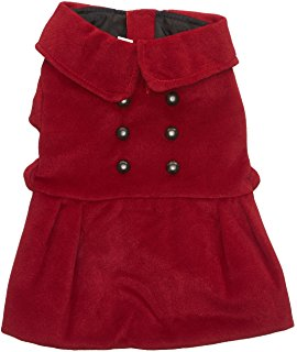 Dogit Style Military Dog Peacoat, Medium, Red