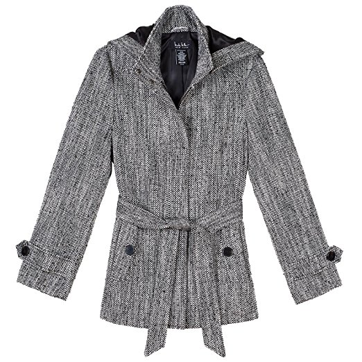 Nicole Miller Womens Wool Blend Pea Coat - Detachable Hood - Zip Up Front with Self Tie Belt