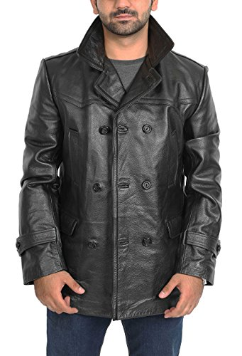 Mens Real Leather Double Breasted Reefer Peacoat Gents Jacket Salcombe Black