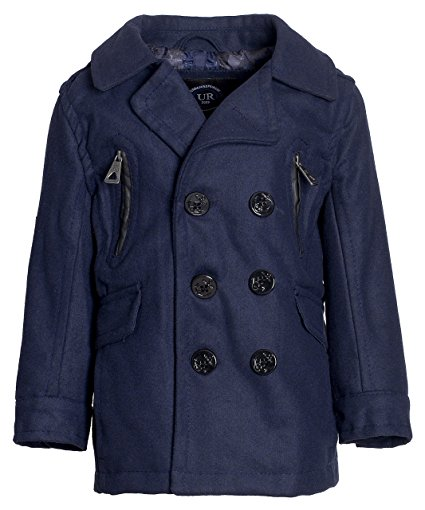 Urban Republic Boys Classic Winter Double Breasted Wool Dress Pea Coat Jacket