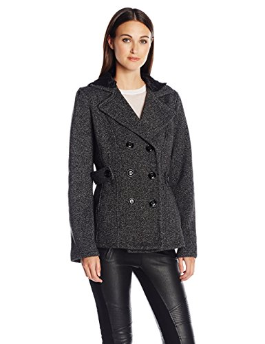 Sebby Collection Women's Tweed Fleece Peacoat