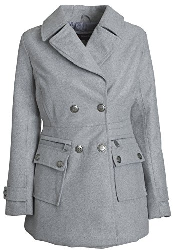 Urban Junior Women Classic Wool Look Padded Winter Dress Peacoat Jacket Pea Coat