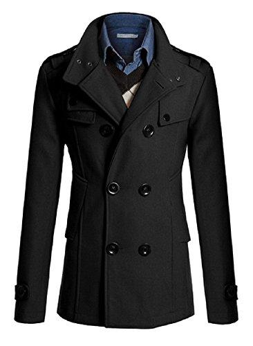 Sorrica Mens Classic Wool Blend Double Breasted Pea Coat