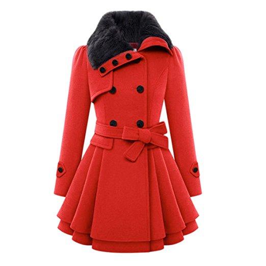Cekaso Women's Double Brested Coat Faux Fur Button Down Belted Wool Blend Pea Coat