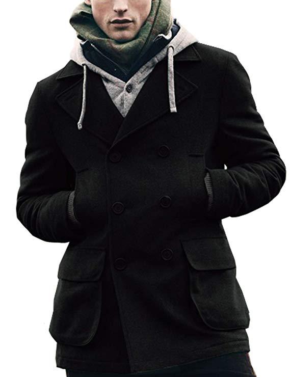 Coofandy Men's Winter Classic Wool Double Breasted Pea Coat