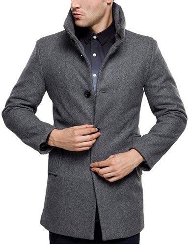 SSLR Men's British Single Breasted Slim Wool Coat