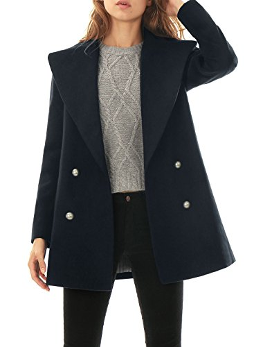 Allegra K Women Turn Down Collar Double Breasted Worsted Coat