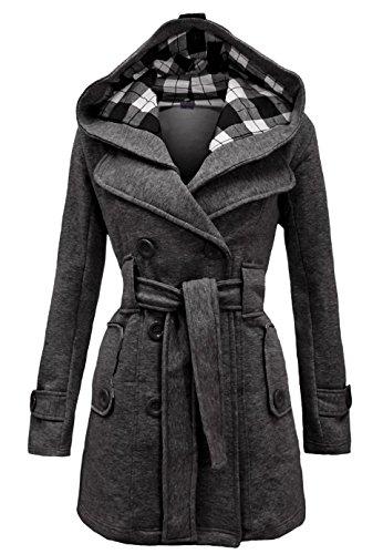 Noroze Women's Check Hood Trench Duffle Coat