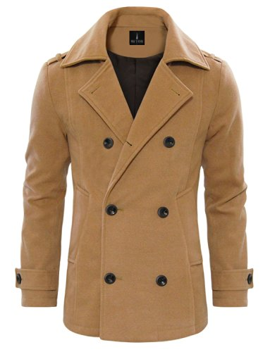 Tom's Ware Men's Stylish Wool Blend Double Breasted Pea Coat