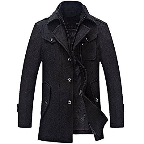 Yougao Men's Winter Thicken Warm Stand Collar Wool Coat