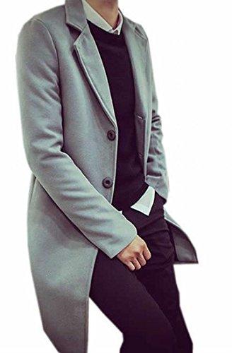 Papijam Men's Leisure Sliod Thicken Long Pea Coat