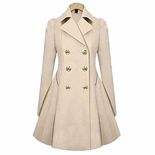 Ai.Moichien Womens Stylish Double-Breasted Long Classic Peacoats