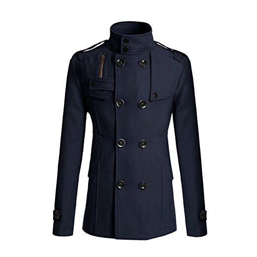 Zeroyoyo Mens Double Breasted Half Trench Pea Coat Winter Long Jacket