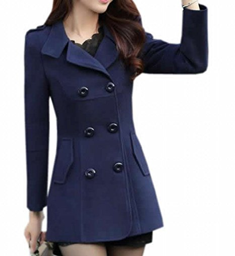 KXP Womens Casual Slim Double Breasted Lapel Solid Peacoats