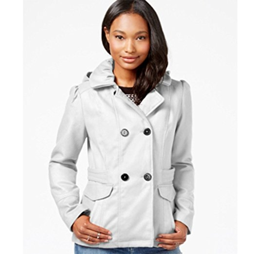 Celebrity Pink Double-Breasted Peacoat-Ivory