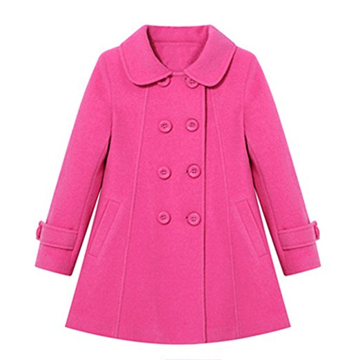 S&C Girl's Lovely Solid Double-breasted Long Sleeve Peacoat Coat