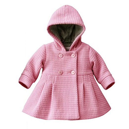 Cutelove Baby Girls Autumn Winter Hooded Pea Coat Outerwear Jacket Pink Red