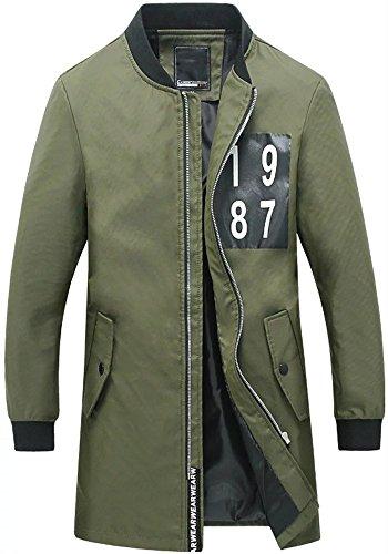 HENGAO Men's Casual Fashion Long Trench Zipper Stand Collar Pea Coat Jacket