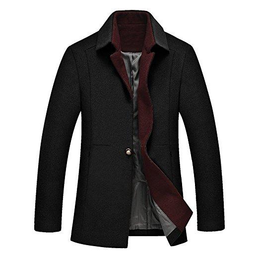 DAVID.ANN Men's One Button Classic Coat Wool Overcoat