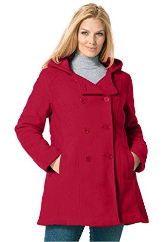 Women's Plus Size Hooded Fleece Pea Coat