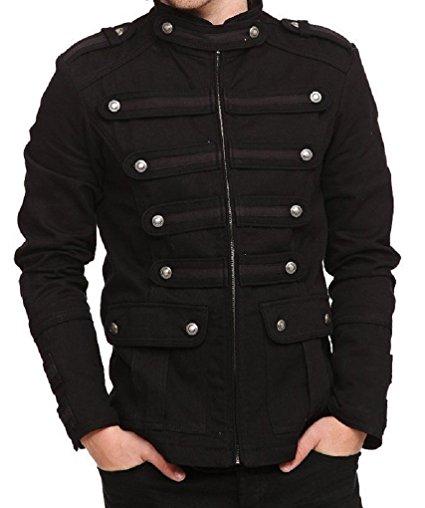 Black Gothic Steampunk Army Military Uniform Style Pea Coat Jacket